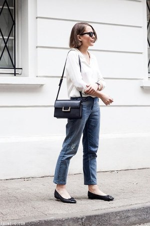 black Saint Laurent bag - light blue Claudie Pierlot jeans