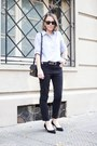 Dark-gray-isabel-marant-jeans-light-blue-gap-shirt-black-saint-laurent-bag