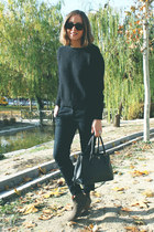 Isabel Marant boots - The Kooples sweater - Prada bag - ray-ban sunglasses