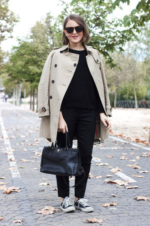 black The Kooples sweater - beige Burberry coat - black Prada bag