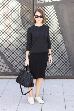 black Alexander Wang bag - black Gap dress - dark gray Equipment sweater