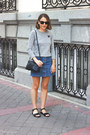 silver Comme des Garcons t-shirt - navy Celine bag - black ray-ban sunglasses