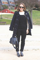 navy Barbour coat - ivory SANDRO sweater - navy Louis Vuitton bag