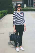 black acne jeans - navy Louis Vuitton bag - black ray-ban sunglasses