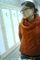 brick red knit H&M sweater - silver cut-out thrifted earrings