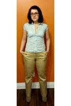 beige Jules & James boots - light blue button up thrifted shirt