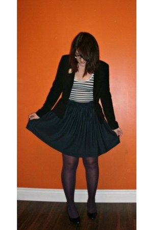 black thrifted blazer - white striped thrifted shirt - purple Ardene tights