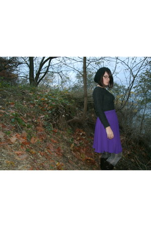 sheer slip thrifted skirt - faux leather American Eagle boots - knit Rickis hat