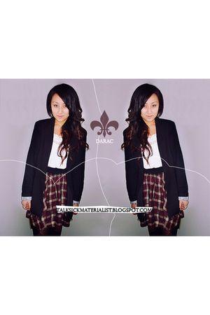 black Forever 21 blazer - white Charlotte Russe top - Forever 21 skirt - Forever