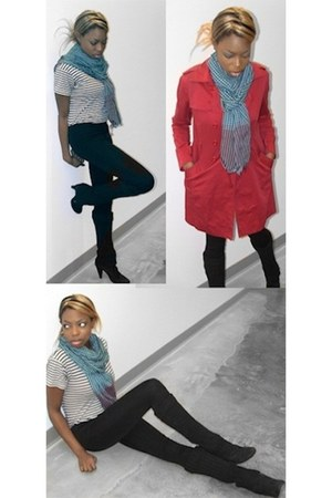 sky blue scarf - black steve madden boots - ruby red burberry jacket