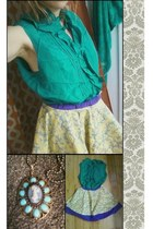 purple damask DIY skirt - teal silk talbots blouse