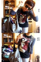 Costa Blanca sweater - hottopic t-shirt - leggings - Aldo purse