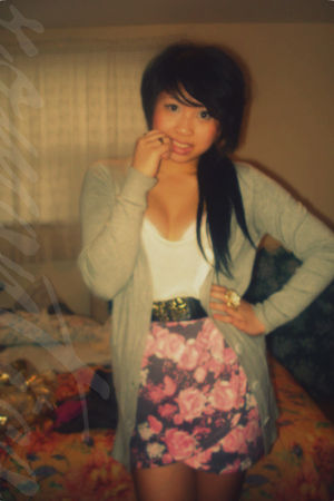 pink skirt - black belt - white top - gray cardigan - gold - black