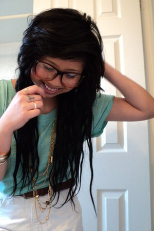 brown Urban Outfitters glasses - green Stitches shirt - gold accessories - brown