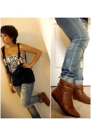 black t-shirt - white Urban Planet top - blue Stitches jeans - brown Stitches bo