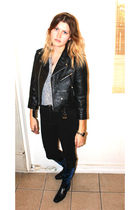 black vintage jacket - balenciaga boots - American Apparel jeans - thrifted blou