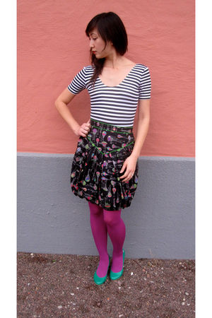 Domino top - Anna Sui for Anthropologie skirt - purple Anthropologie tights - gr