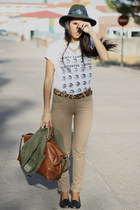 Diesel t-shirt - vintage shoes - vintage hat - Zara shirt - Bimba y Lola bag