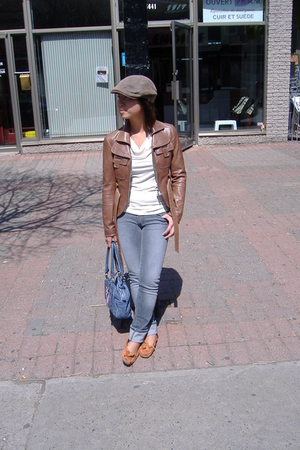 thrifted hat - RK jacket - H&M top - Paige Denim jeans - Hugo Boss purse - delma