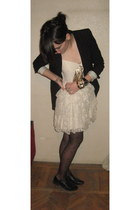 black Zara blazer - beige dress - black shoes - black stockings - black - gold a