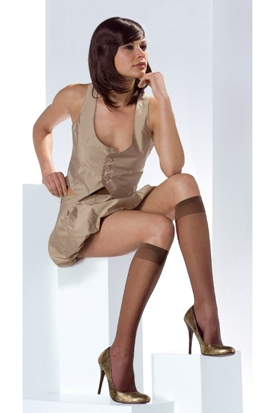 brown romper dress - shiny heels shoes - brown sheer knee high stockings