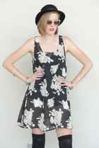 black Trashy Vintage dress - black bowler vintage hat - light pink H&M sunglasse