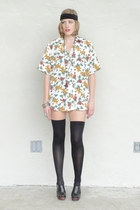 white Trashy Vintage shirt - black over the knee stockings - black turban Foreve