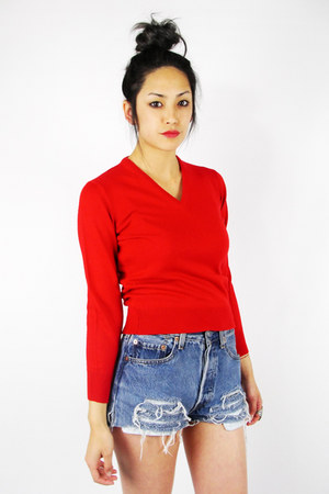 red cherry v-neck Trashy Vintage sweater
