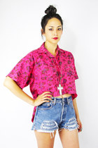 Hot-pink-floral-fishtail-trashy-vintage-shirt