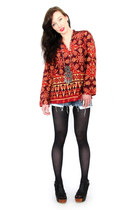 brick red Trashy Vintage top - black opaque kohls tights