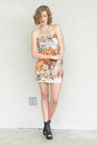 black peep toe wedge boots - light orange Trashy Vintage dress - silver cross Fo