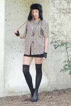 black peep toe wedge boots - black hat - light brown Trashy Vintage shirt - blac