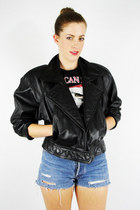 vintage 80s WILSONS black LEATHER crop MOTORCYCLE BIKER jacket coat S/M
