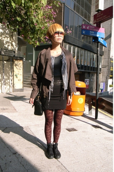 Mango jacket - hnm leggings - Converse shoes - accessories - hnm skirt - vintage
