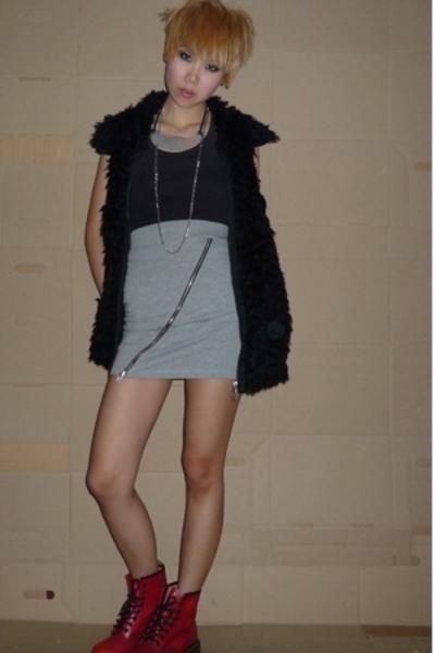 Zara vest - Mango shirt - hnm skirt - drmartens shoes