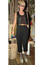 thrift vest - Mango blouse - thrift pants - Uniqlo belt - YSL purse - second han
