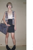 Mango blouse - vintage vest - sevendays skirt - vintage wallet - Converse All St