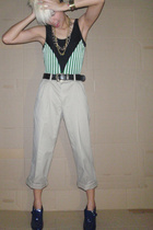 swimwear - second hand pants - vintage belt - shoes