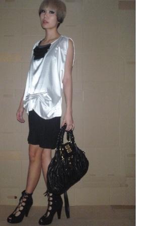 blouse - dress - urban org shoes - Miu Miu accessories