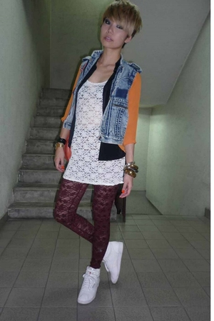 vintage vest - vintage blouse - dress - hnm leggings - Reebok shoes