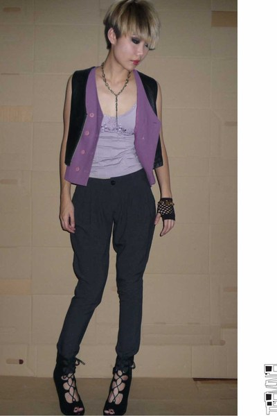 vintage vest - vintage vest - pants - Mango blouse - shoes