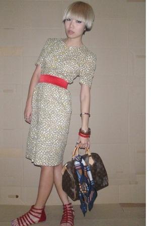 dress - Topshop belt - LV accessories - shoes - scarf