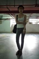 fourskins hat - Cheap Monday jeans - Topshop blouse - vintage accessories - vint