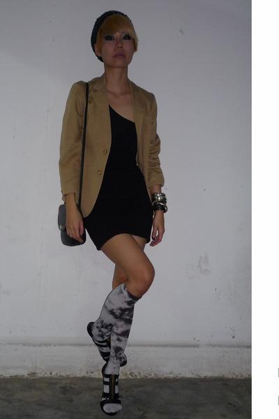 blazer - Topshop blouse - hnm skirt - forever 21 socks - blay shoes
