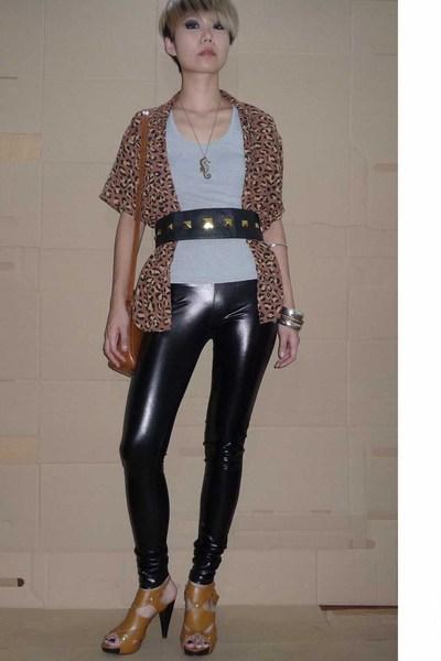 vintge blouse - belt - cotton on pants - shoes - Bag accessories