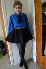 Blue-vintage-top-black-h-m-skirt