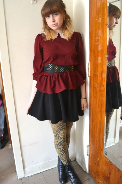 black Diba boots - black cotton on skirt - crimson One Clothing top