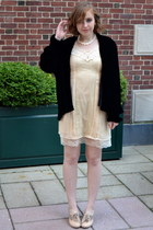 black vintage coat - cream Blu Pepper dress - light pink crown vintage heels