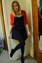 black One Clothing dress - black cynthia rowley tights - red Forever 21 cardigan