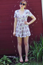 white vintage romper - nude Elizabeth and James shoes